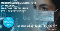 Medizinische OP-Masken, Mundschutz CE zertifiziert Typ II